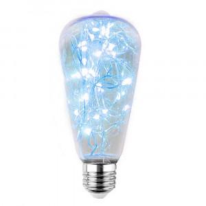 LED DEKORATÍVNA ŽIAROVKA modrá E27 2W ST64-NI