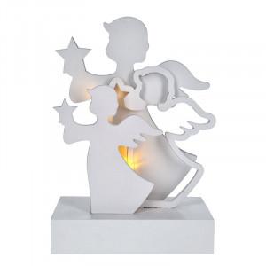 Solight LED anjeli, drevo, biela farba, 2x AA
