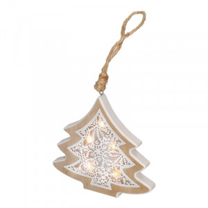 Solight LED vianočný stromček, drevený dekor, 6LED, teplá biela, 2x AAA