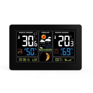 Solight meteostanica, extra veľký farebný LCD, teplota, vlhkosť, tlak, RCC, USb nabíjanie, čierna