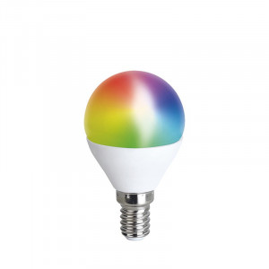 SMART LED WIFI žiarovka, miniglobe, 5W, E14, RGB, 400lm