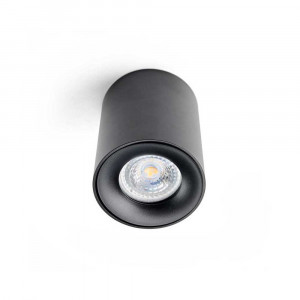 TRIO čierna GU10 + tri vymeniteľné krúžky (biela, zlatá a čierna)